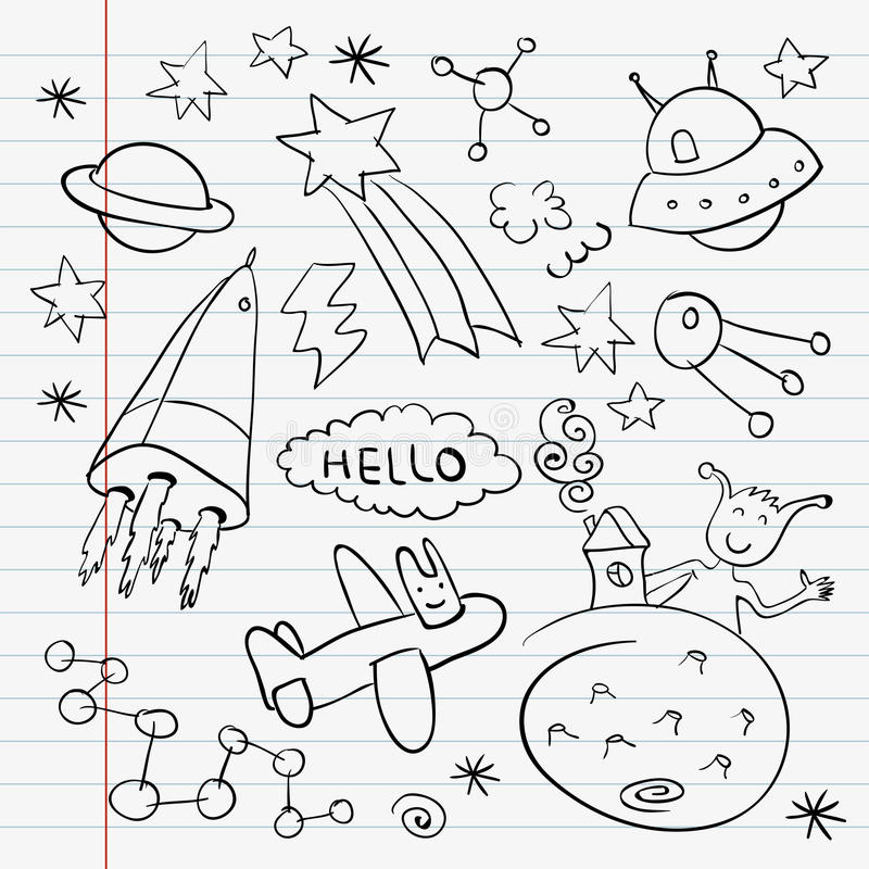 Download Outer Space Doodle Notebook Set Stock Images - Image: 25843834