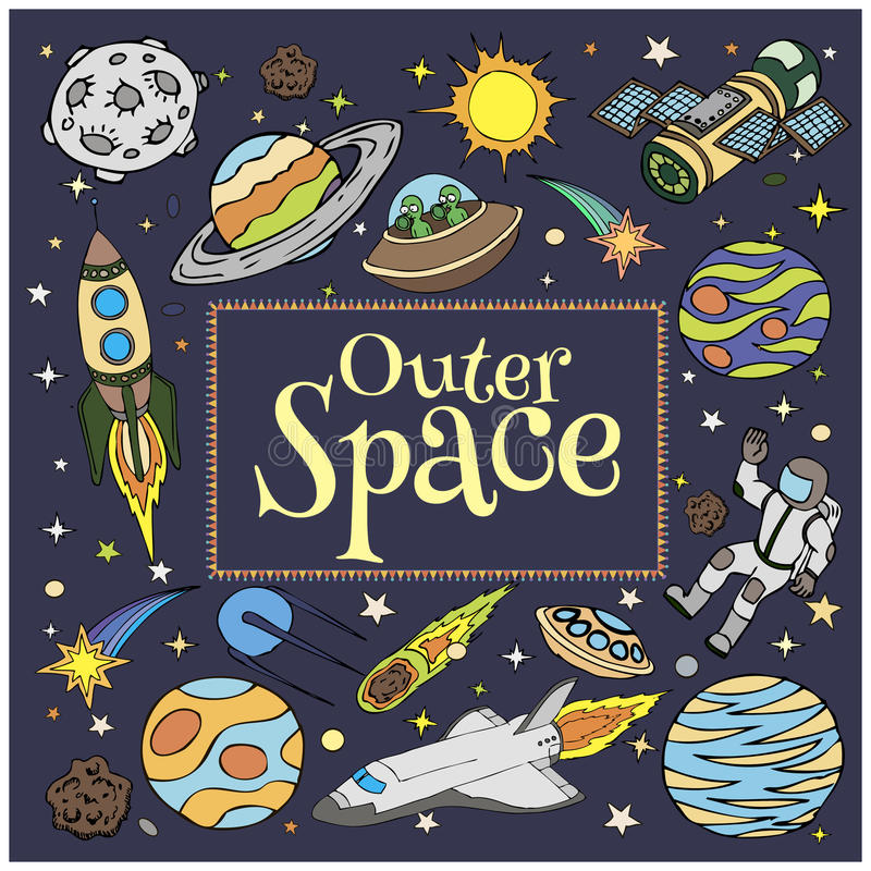 Outer space doodles symbols and design elements stock for Outer space design