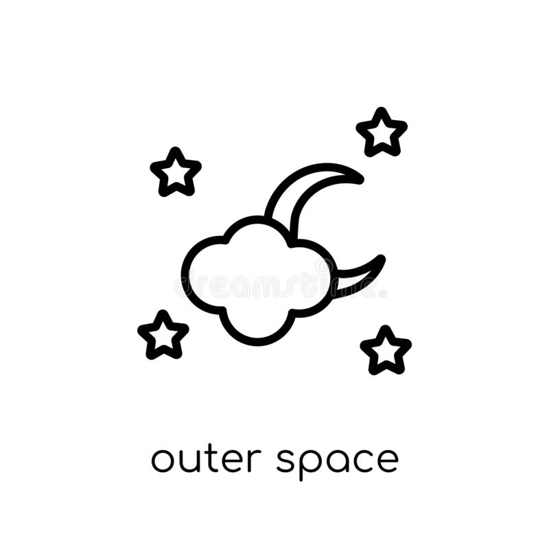 outer space icon. Trendy modern flat linear vector outer space i stock illustration