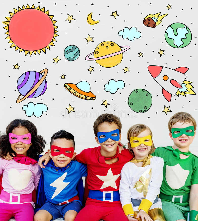 Outer Space Icons Drawing Graphics Concept stock photos
