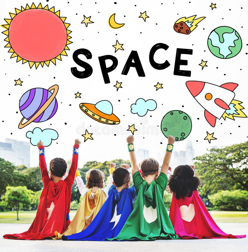 Outer Space Icons Drawing Graphics Concept. Kids Enjoying Playing Outdoors Concept stock image