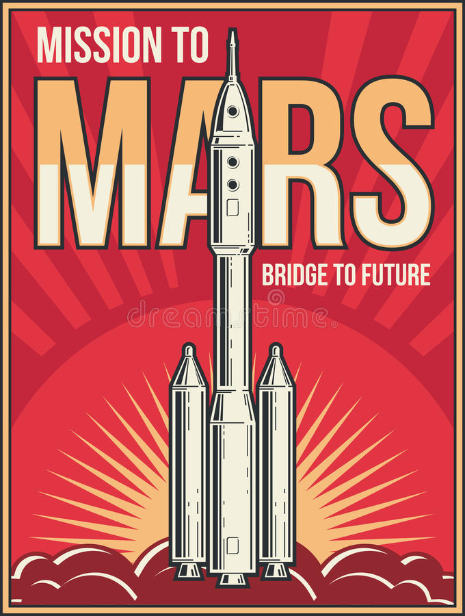Outer space journey to Mars background. Universe adventure project vector vintage poster stock illustration