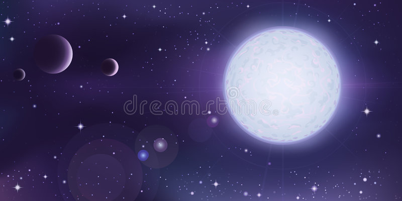 Outer space landscape. White star with a few planets in foreground