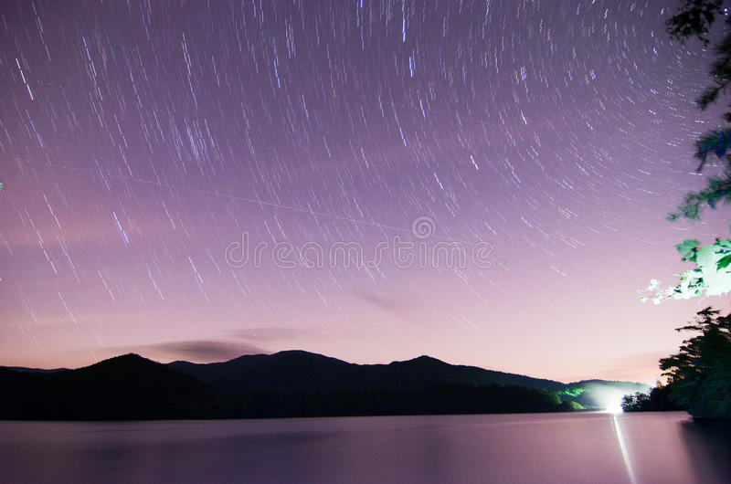 Outer space over lake santeetlah in great smoky mountains stock photography