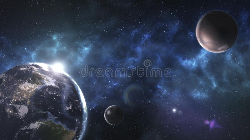 Outer space planet Earth Mars sun astrology milky way solar system galaxy universe. Elements of this image furnished by NASA.. stock illustration