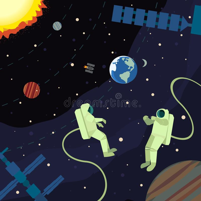 Outer space poster. Astronaut in outerspace. Colorful abstract cartoon. Spacemen, satellite in outer cosmos. Moon, Earth planet. Stars, cosmonauts, space station vector illustration