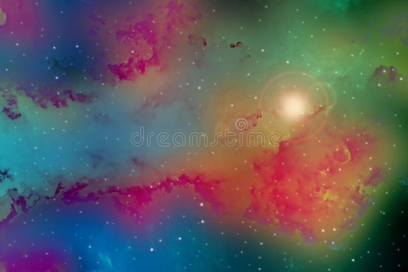 Outer space with stars, cloud formations stock image