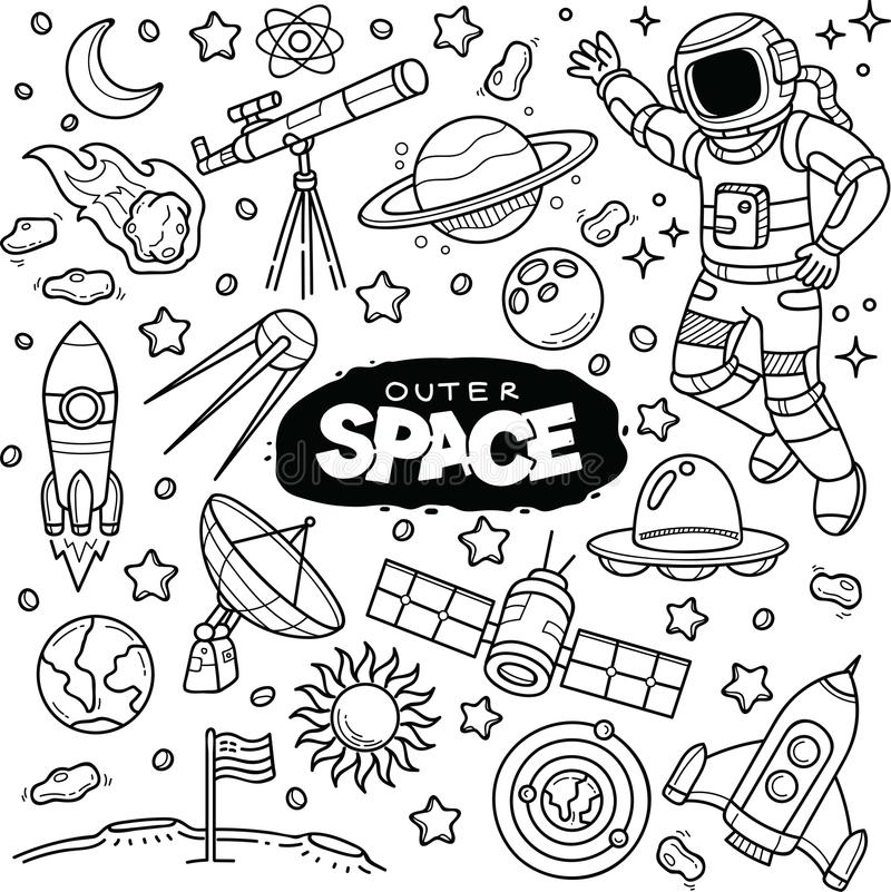 Outer Space Vector Doodle. royalty free illustration