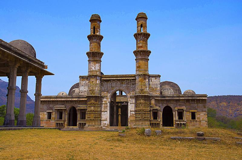 Outer view of Kevada Masjid has minarets, globe like domes and narrow stairs, UNESCO protected Champaner - Pavagadh Archaeologica stock image