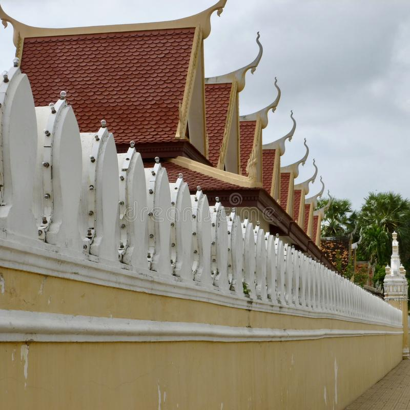 Outer Wall of the Royal Palace in Phnom Penh, Cambodia stock photo