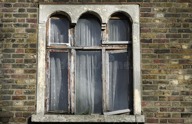 Outer window of vintage house in Islington London UK. stock photo