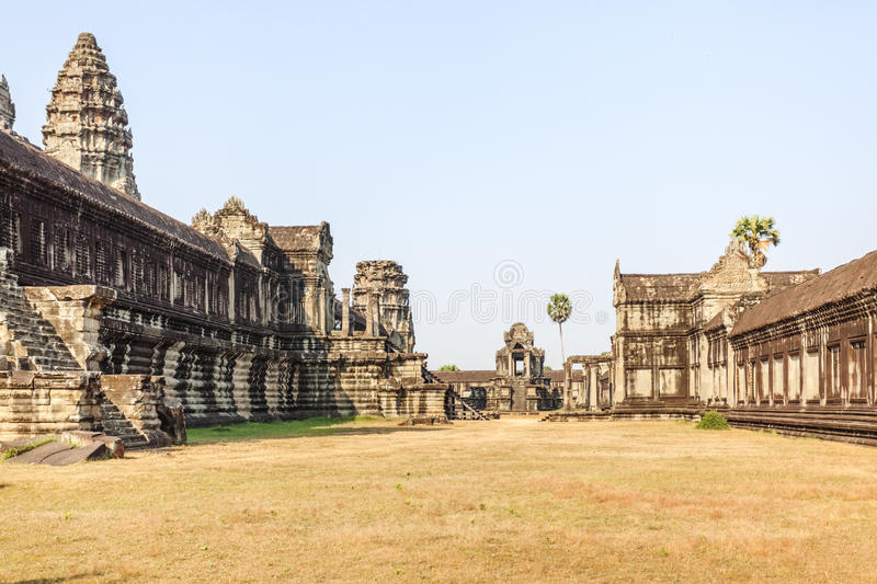 Outer yard of the Lotus-like tower, Angkor Wat, Siem Reap, Cambodia. Angkor Wat is a temple complex in Cambodia and the largest religious monument in the world royalty free stock photos