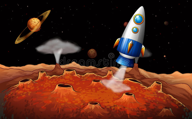 Download An Outerspace With A Rocket Stock Vector - Image: 37071811