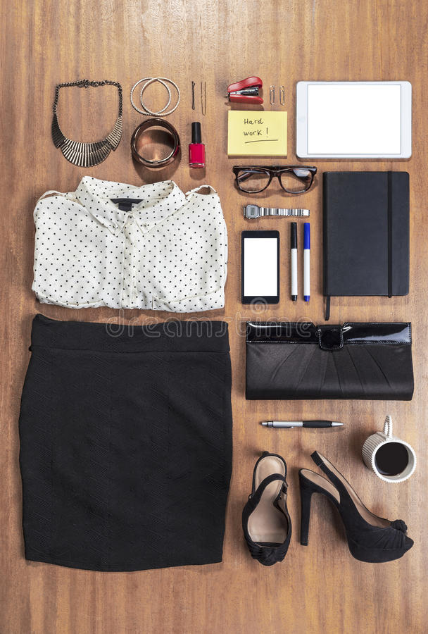 Outfit of business woman in office. royalty free stock images