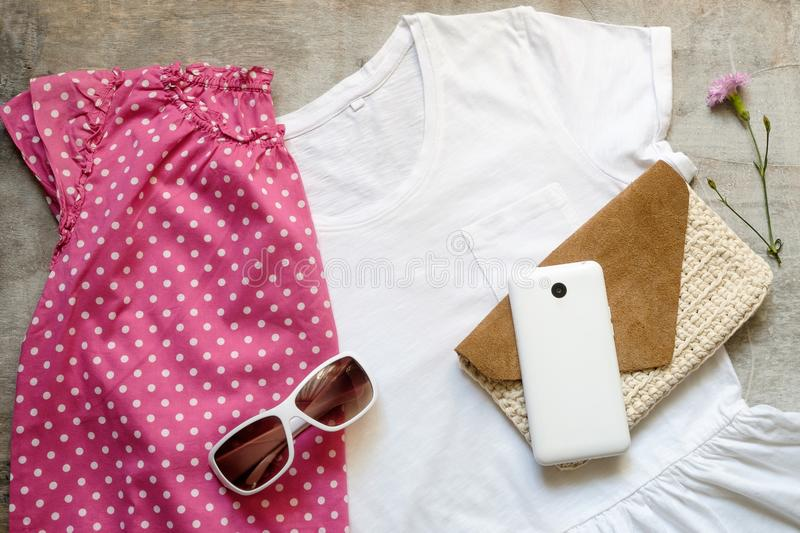 Outfit of casual woman. stock photos