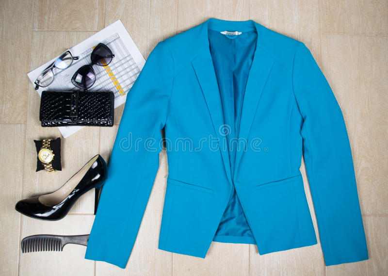 Outfit of clothes and woman accessoriesbusiness woman. Outfit of clothes and woman accessories. Overhead of essentials business woman stock images