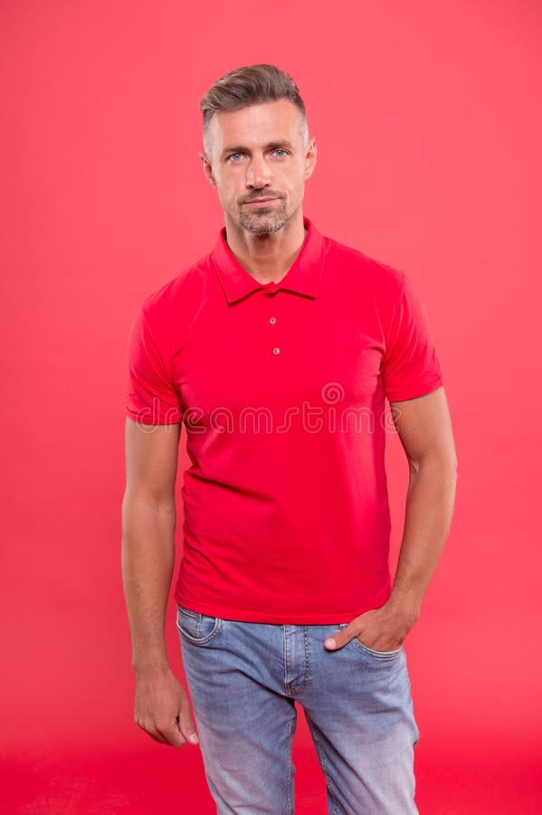 Daily outfit. Man looks handsome in casual shirt. Guy with bristle wear casual outfit. Man model clothes shop. Menswear. And fashionable clothing. Man calm face stock photography