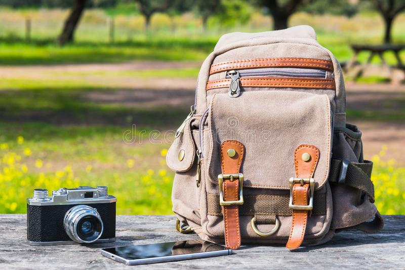 Outfit of traveler, student, teenager, young man. Different obj stock images