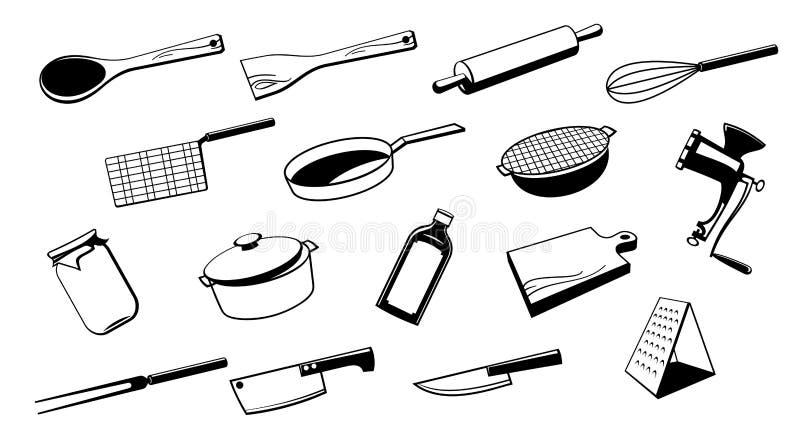 Outil d 39 ustensile de cuisine illustration de vecteur for Outil de cuisine