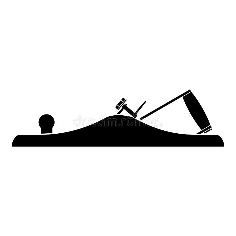 Outil de bricolage plat de symbole d'outil de charpentier de lissage d'avion de Jack pour l'illustration de couleur de noir d'icô illustration libre de droits