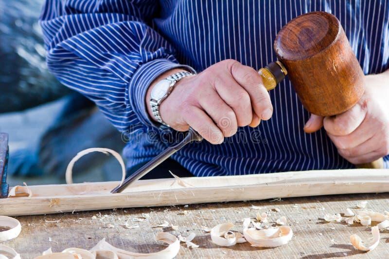 Outil de charpentier de burin en bois de gouge. photographie stock libre de droits