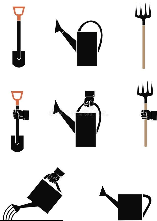 Outil de jardin d'image de vecteur : showel, boîte d'arrosage fourchette illustration de vecteur