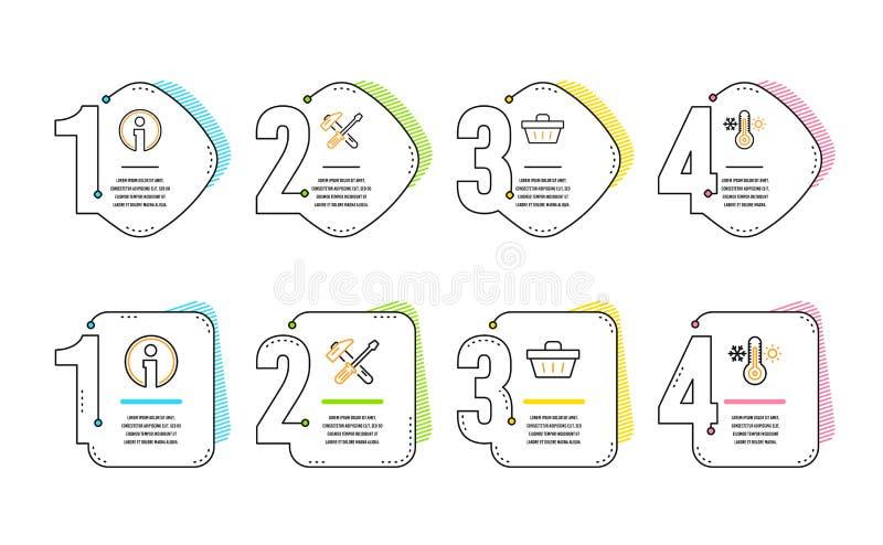 Outil de marteau, ensemble d'icônes de panier à provisions de l'information et Signe de thermomètre Tournevis de réparation, l'in illustration stock