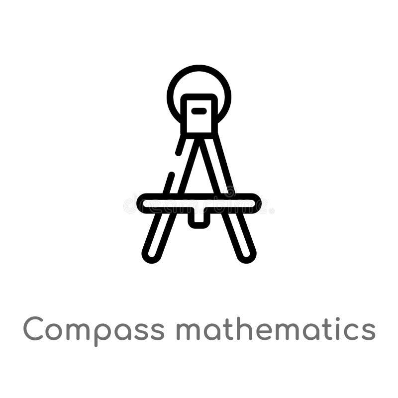 outil de math?matiques de boussole d'ensemble pour dessiner l'ic?ne de vecteur de cercles ligne simple noire d'isolement illustra illustration de vecteur