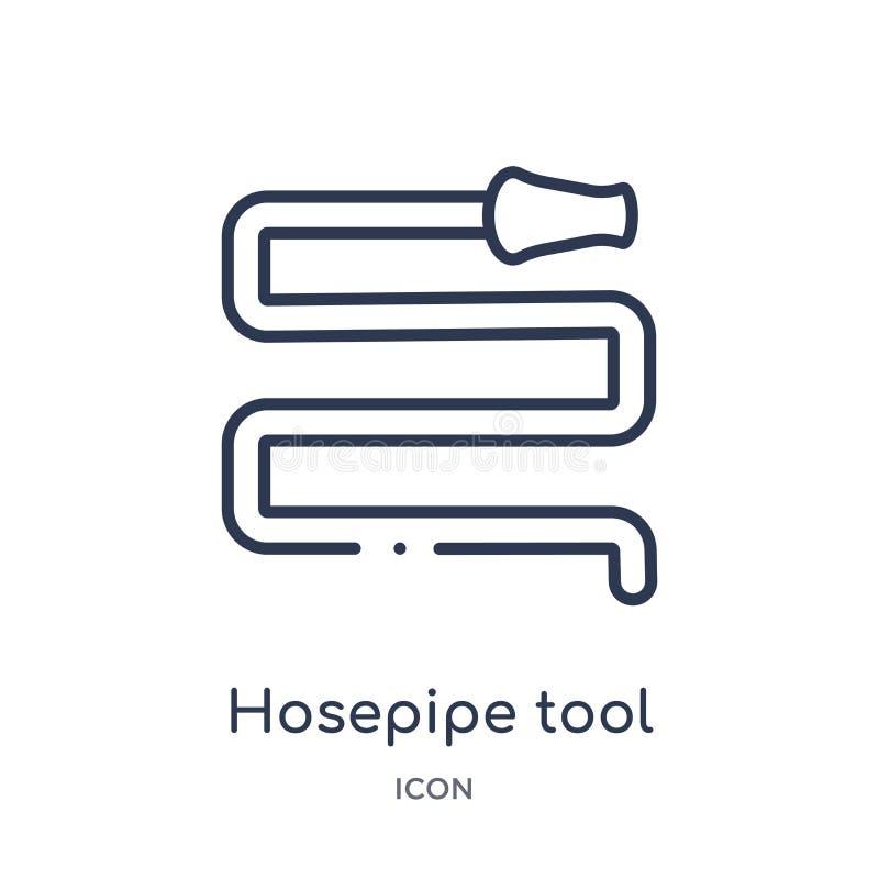 outil de tuyau flexible pour s'éteindre le feu ou l'icône de jardinage de la collection d'ensemble d'outils et d'ustensiles Ligne illustration de vecteur
