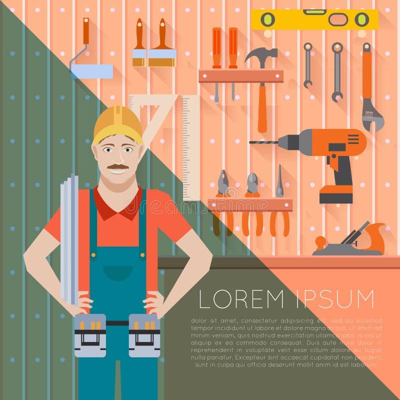 Outil jeté avec worker2 illustration de vecteur