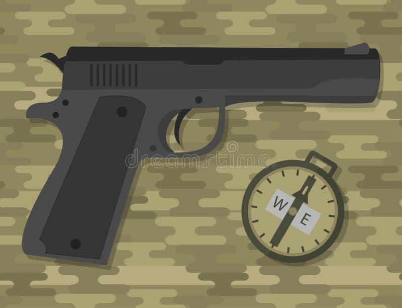 Outil militaire d'armée de munitions de pistolet de balle de pistolet d'arme à feu de main de mitraillette de pistolet de pistole illustration de vecteur