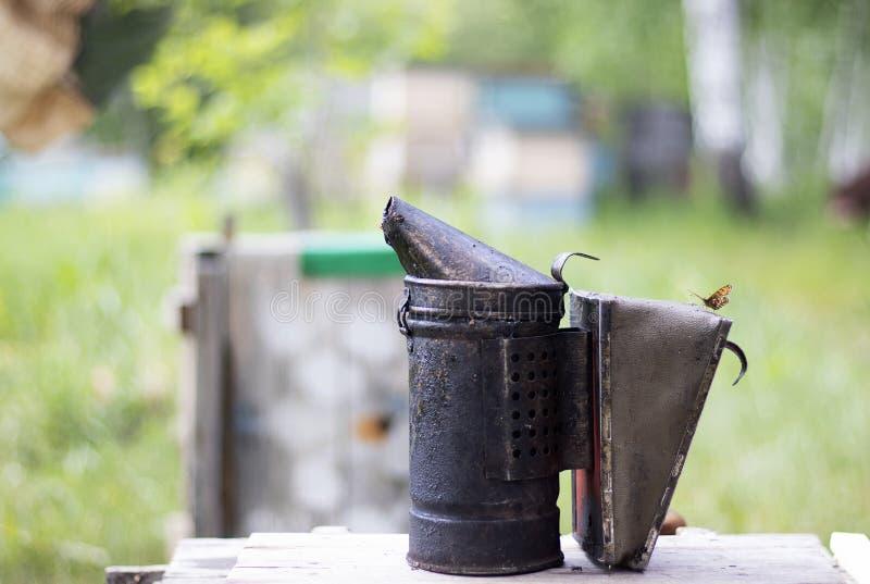 Outil pour fumer des abeilles de la ruche dans le rucher Fumée pour des abeilles, équipement au rucher L'apiculture naturelle images stock