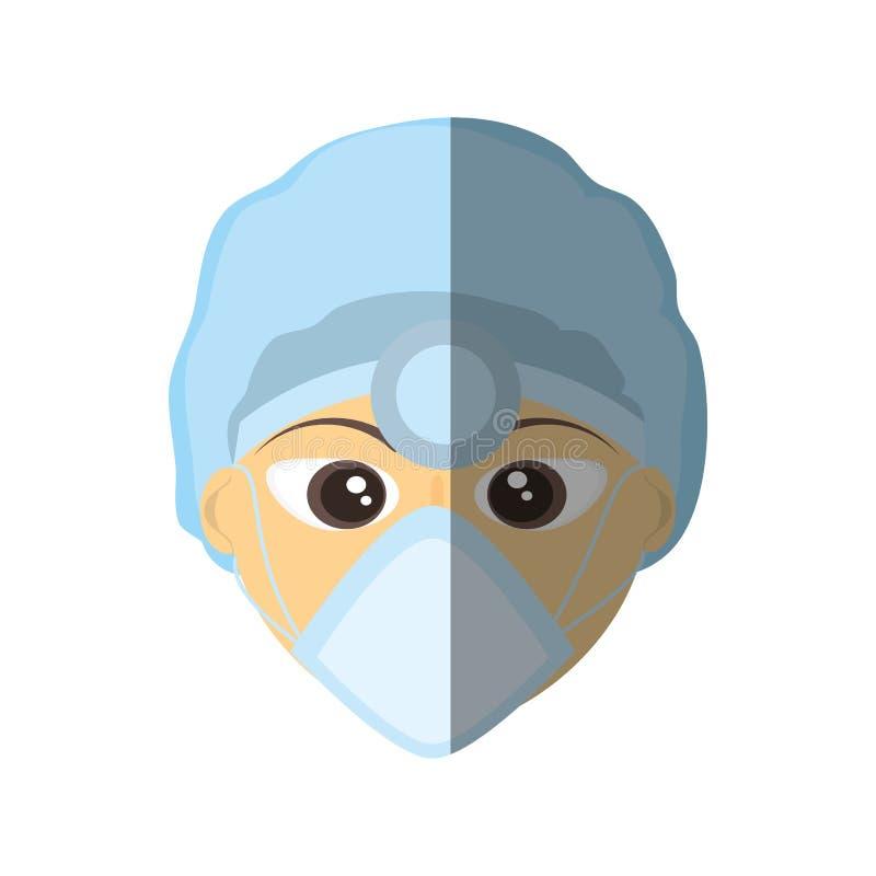 outil principal médical de miroir de masque femelle de docteur illustration de vecteur