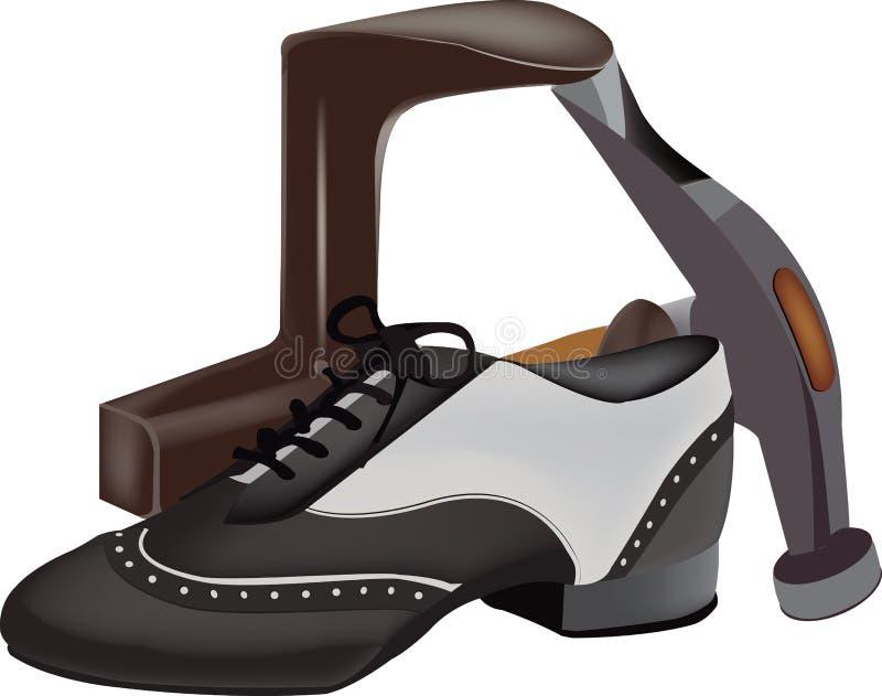 Outils élégants de réparation de chaussure illustration de vecteur