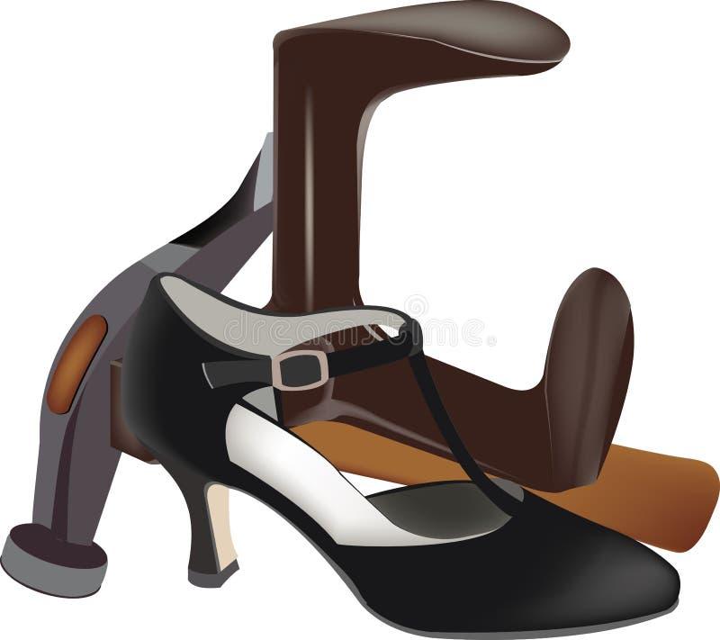 Outils élégants de réparation de chaussure illustration stock