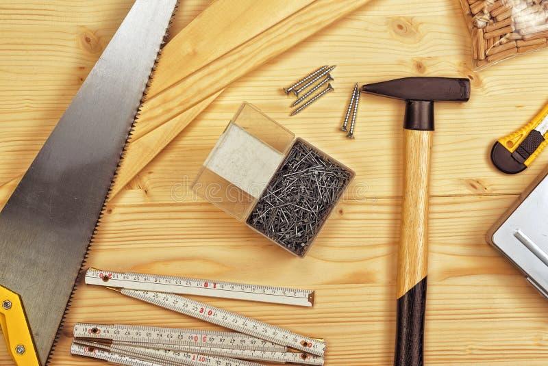Outils assortis de boisage et de menuiserie ou de construction photo libre de droits