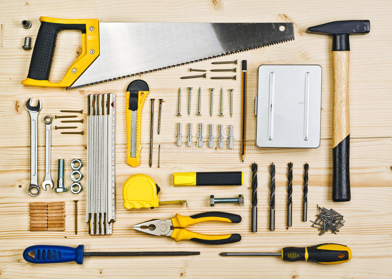 Outils assortis de boisage et de menuiserie ou de construction photographie stock libre de droits