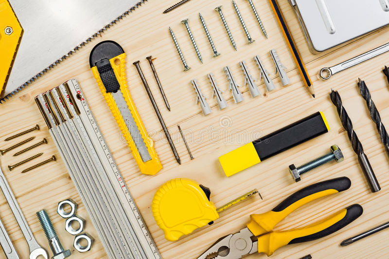 Outils assortis de boisage et de menuiserie ou de construction photographie stock