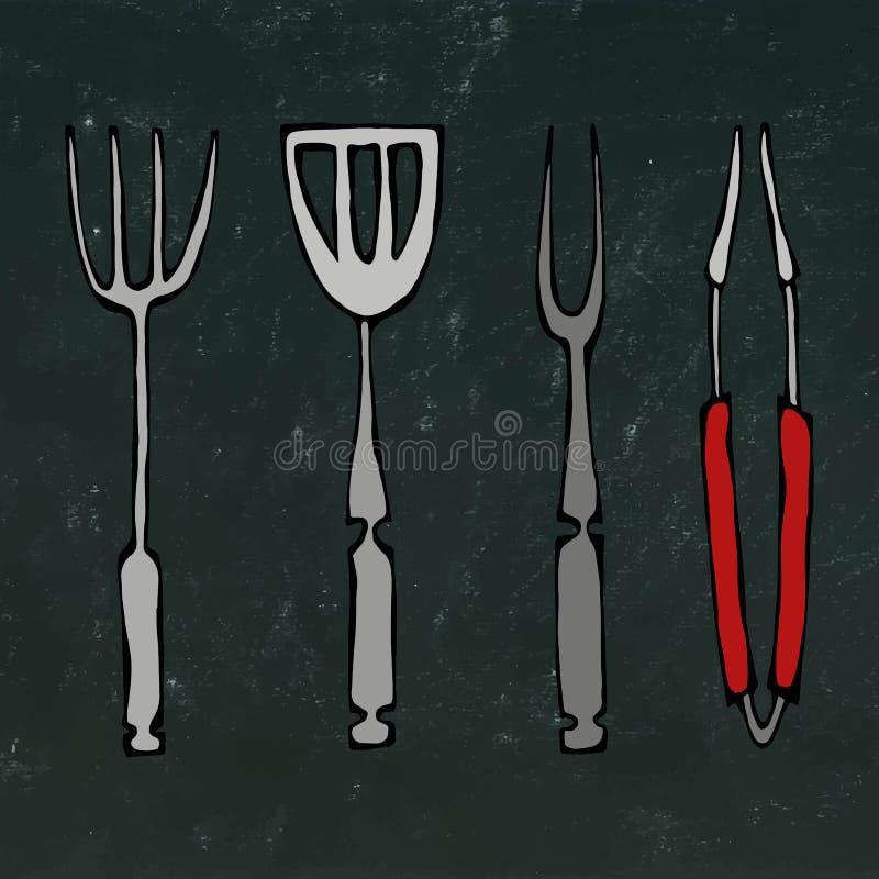 Outils d'équipement ou de barbecue de cuisson Pinces pour le BBQ, la fourchette et la spatule D'isolement sur un fond noir de tab illustration de vecteur