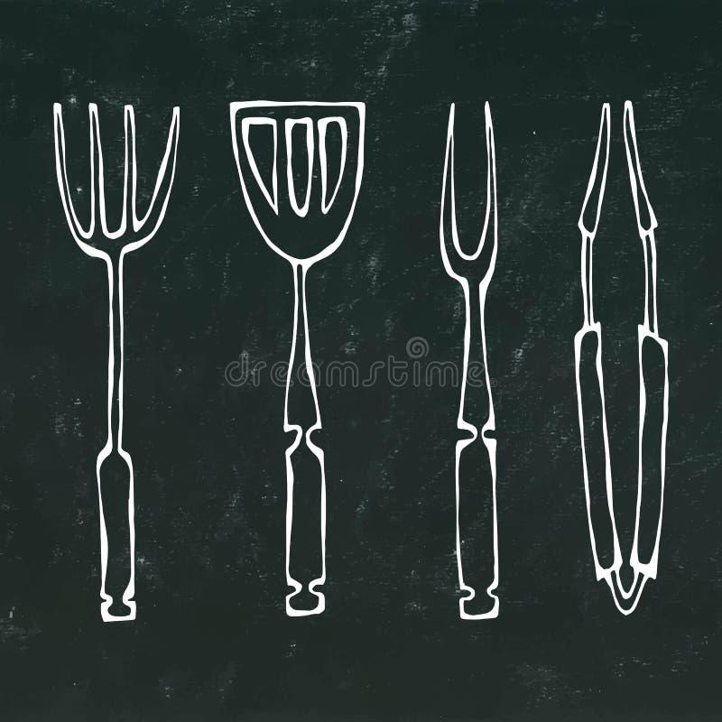Outils d'équipement ou de barbecue de cuisson Pinces pour le BBQ, la fourchette et la spatule Sur un fond noir de tableau illustration stock
