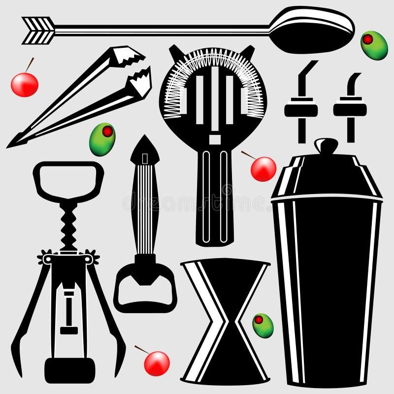 Outils de bar en silhouette de vecteur illustration de vecteur