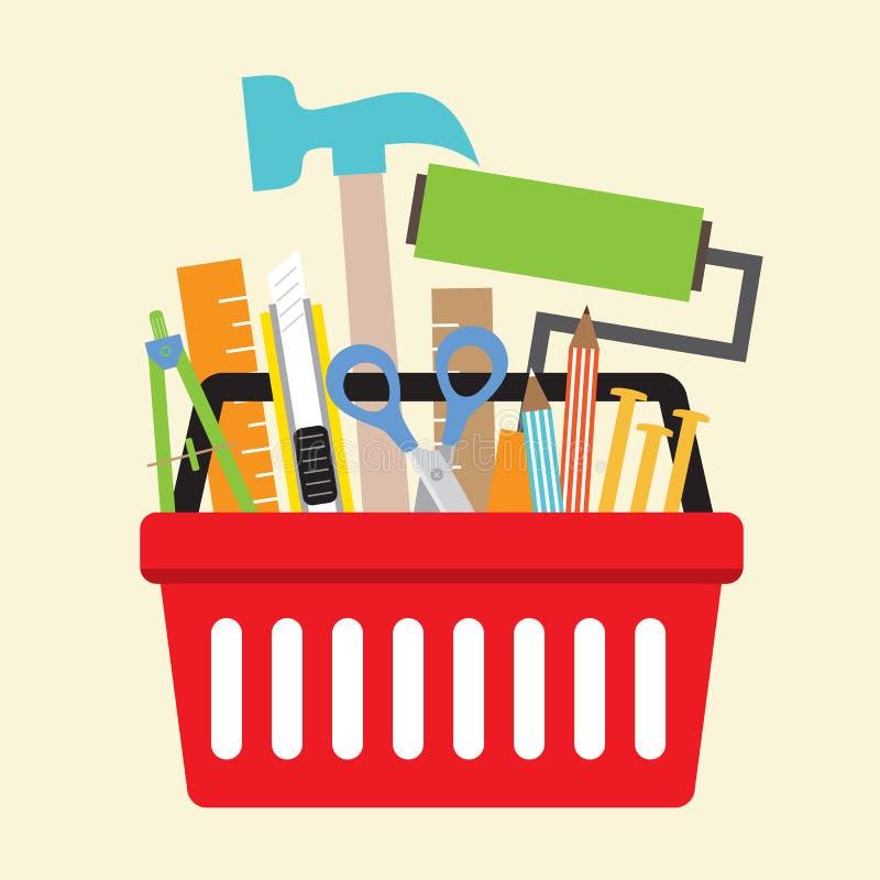 Outils de bricolage dans le panier à provisions illustration libre de droits