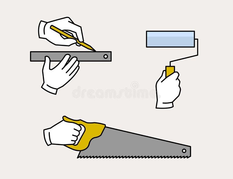 Outils de bricolage de charpentier illustration libre de droits