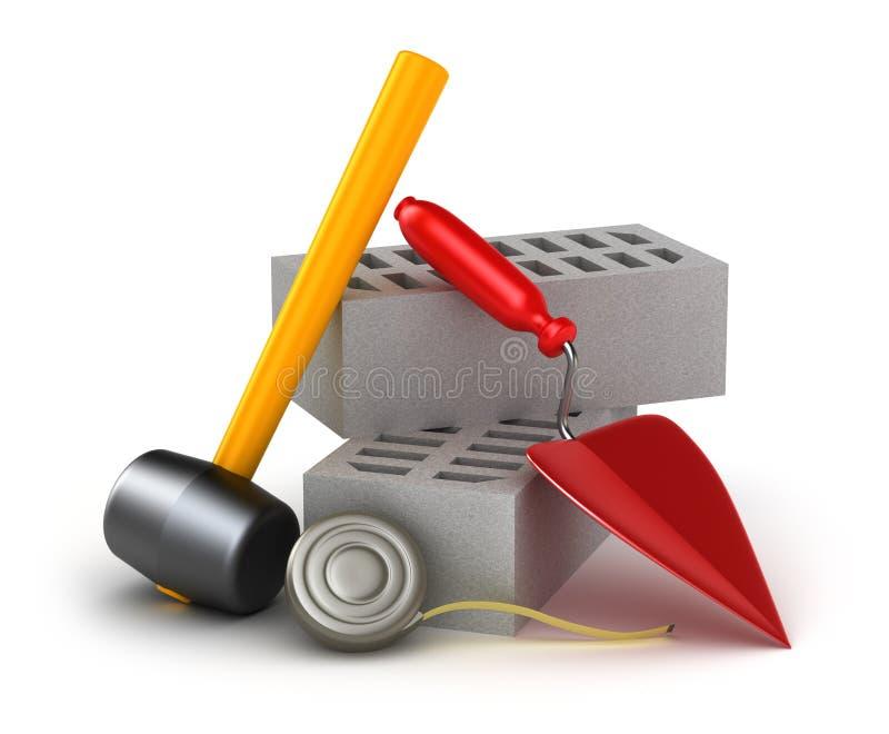 Outils de construction : truelle et brique de marteau illustration de vecteur