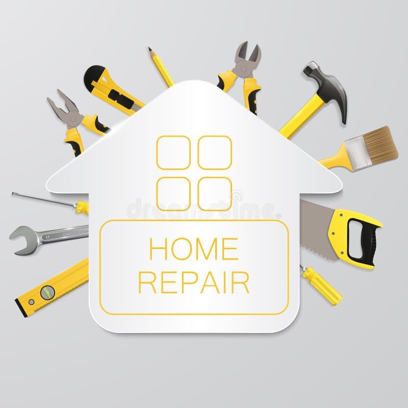 Outils de construction de vecteur avec la Chambre Réparation à la maison illustration libre de droits