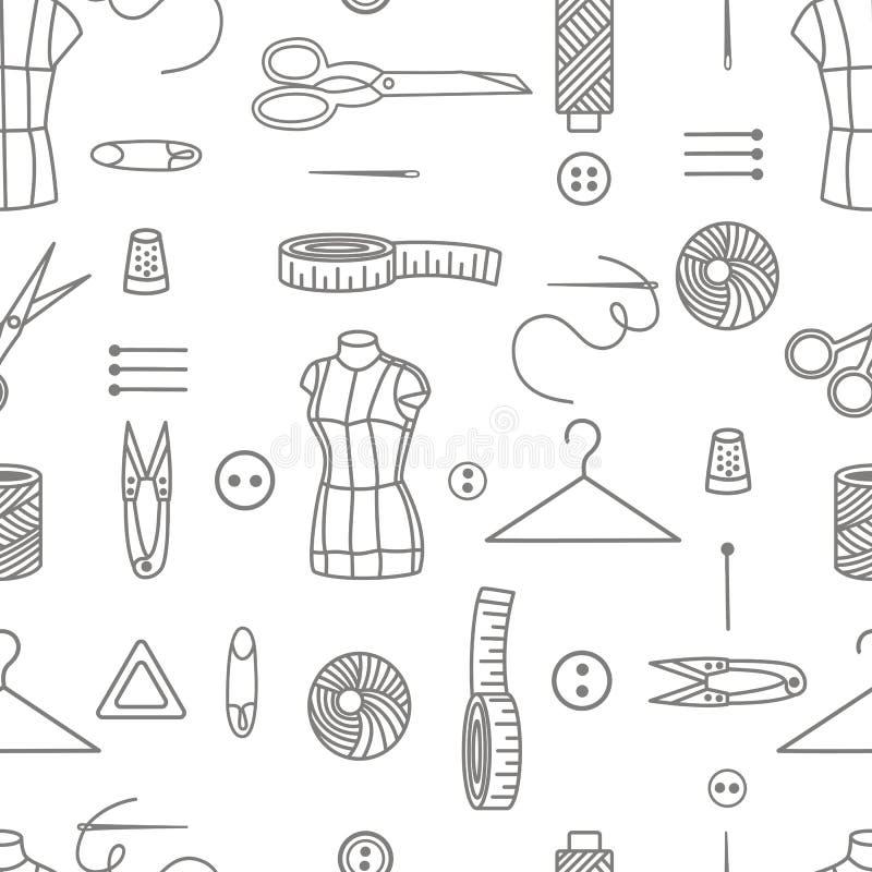 Outils de couture mod?le sans couture, fond de vecteur illustration de vecteur