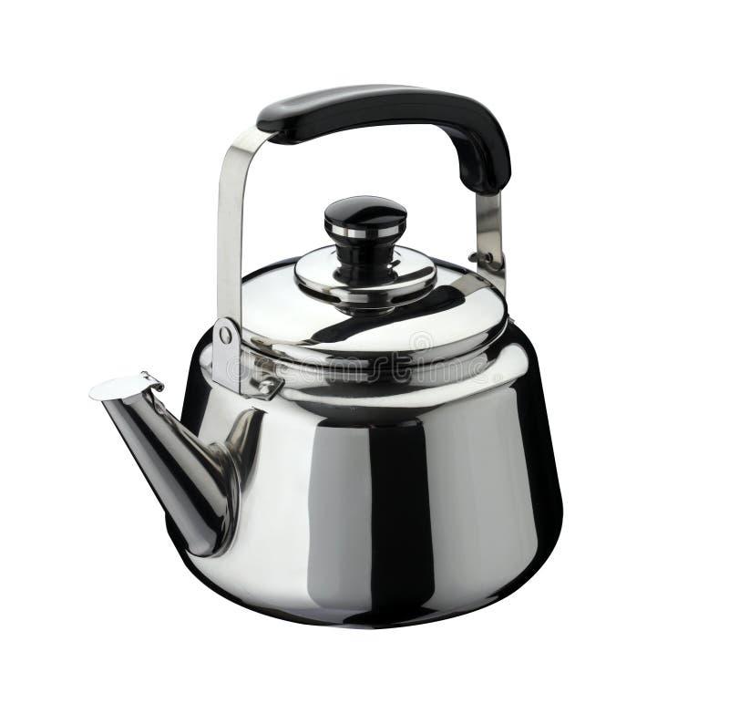 Outils de cuisine : bouilloire sur l'acier inoxydable image stock