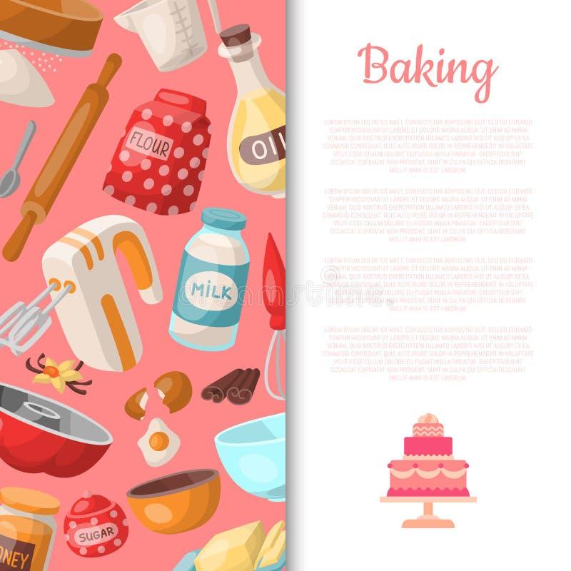 Outils de cuisson de bande dessinée, modèle sans couture de nourriture Ustensiles de cuisine Cuisson de l'illustration de vecteur illustration libre de droits