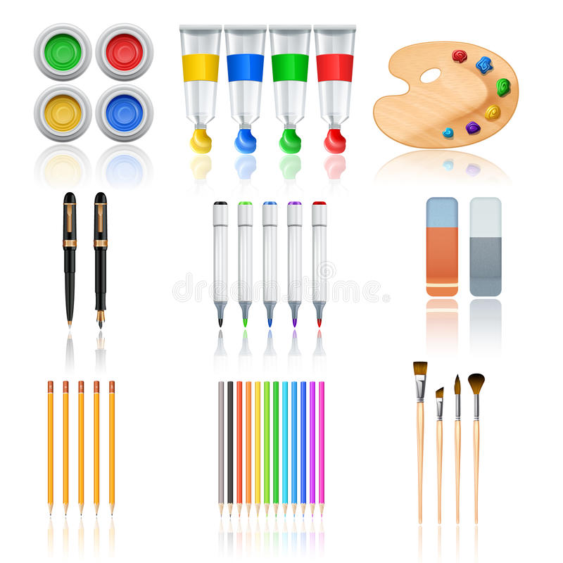 outils de dessin et de peinture illustration de vecteur illustration du gouache mat riel. Black Bedroom Furniture Sets. Home Design Ideas