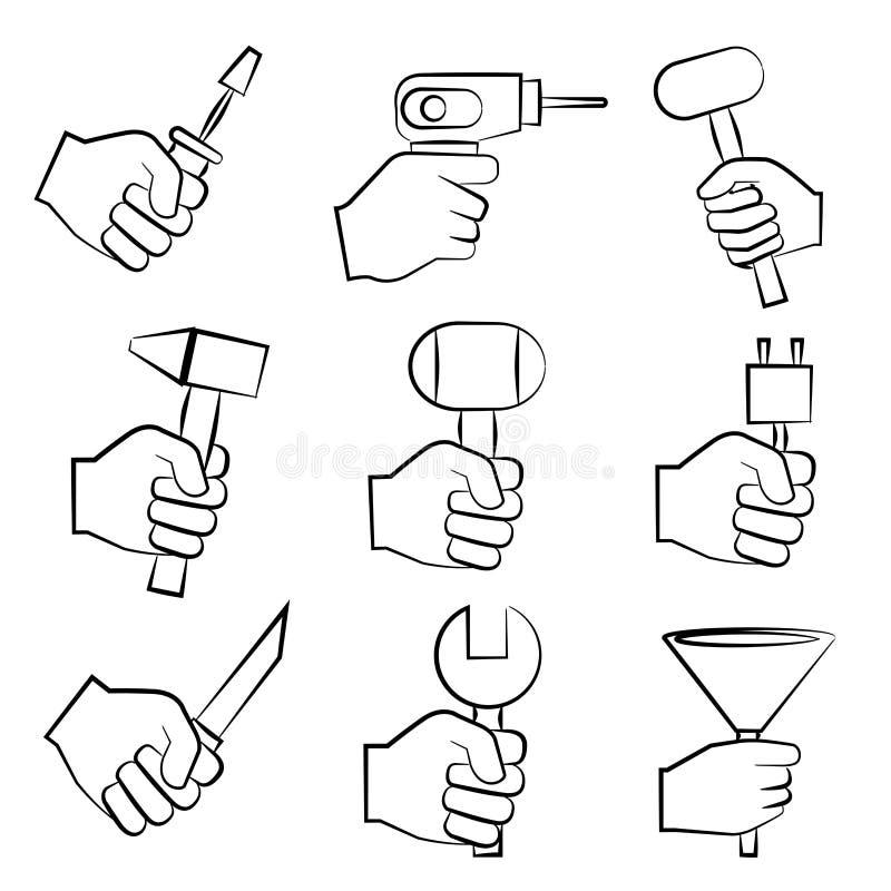 Outils de fixation de main illustration libre de droits